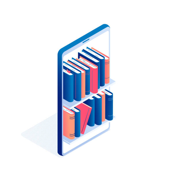 Online education or electronic book reading isometric concept. Online education or electronic book reading isometric concept - big mobile phone with shelves full of standing paper literature or diary with hardcover and bookmarks in isolated vector illustration. e reader stock illustrations