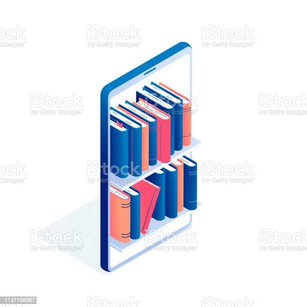 Vetores de Educação Online Ou Conceito Isométrico De Leitura De Livros Electrónicos e mais imagens de Agenda