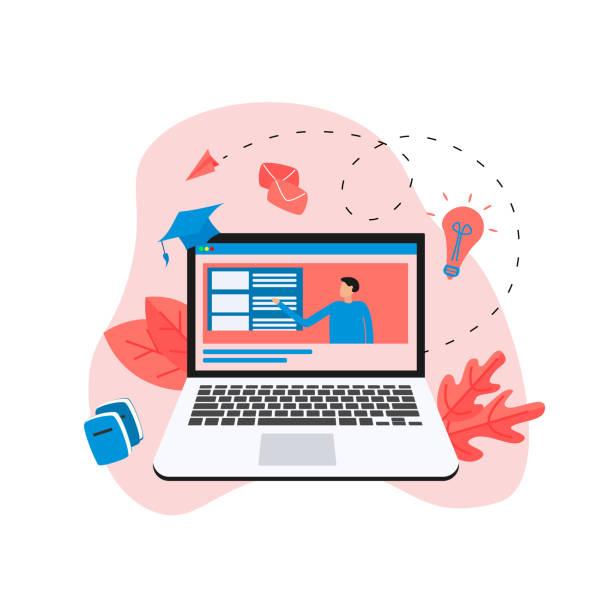 illustrazioni stock, clip art, cartoni animati e icone di tendenza di online education or web course in desktop monitor with distance teacher. e-learning concept. - didattica a distanza