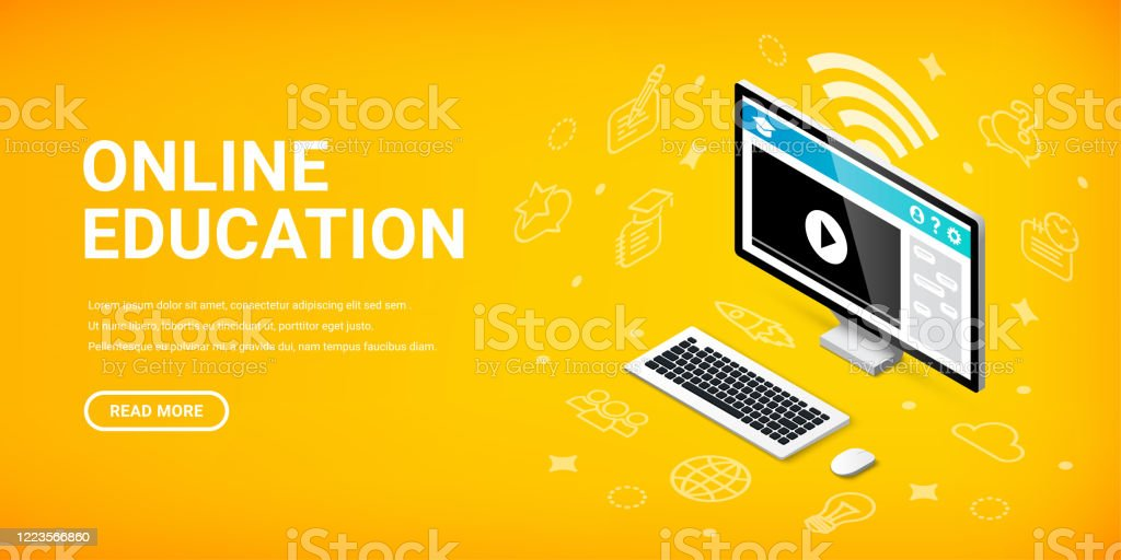 Online Education Pc Banner Stock Illustration Download Image Now Istock