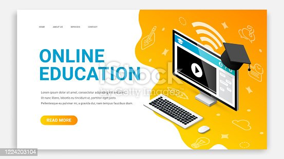 istock Online education pc landing page 1224203104