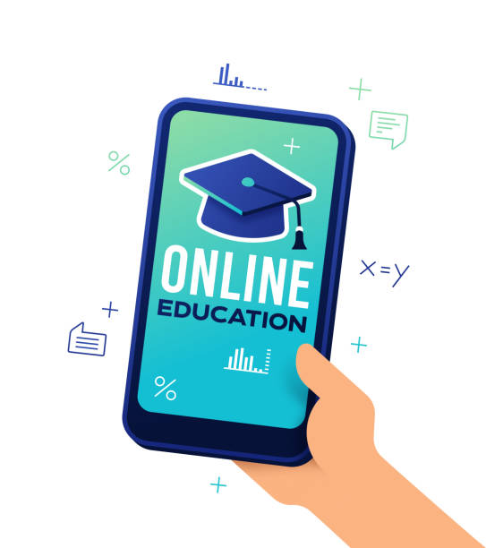 online education smartphone - e-learning not icons stock illustrations