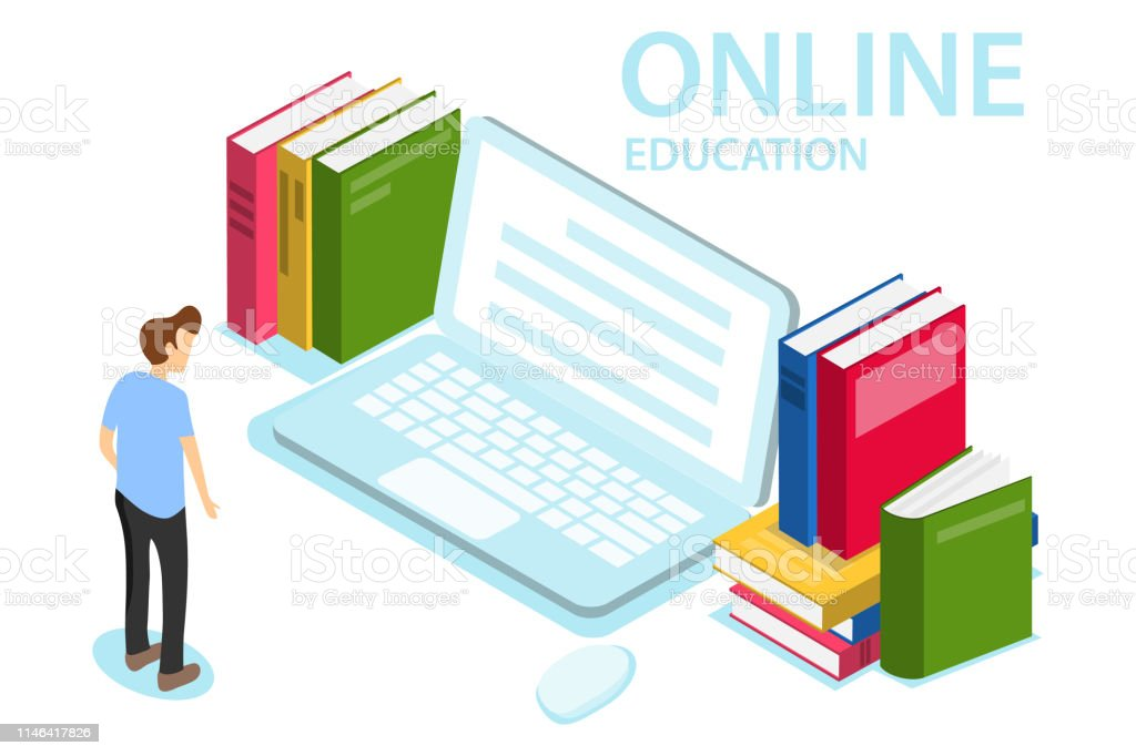 Online education. The concept of online education, training, courses....