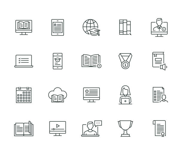 online education thin line series - thin line icons stock illustrations, clip art, cartoons, & icons