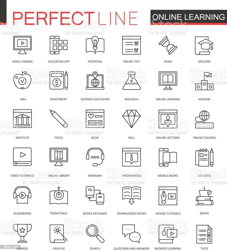 Online education thin line web icons set. Knowledge Outline stroke icons design. vector art illustration