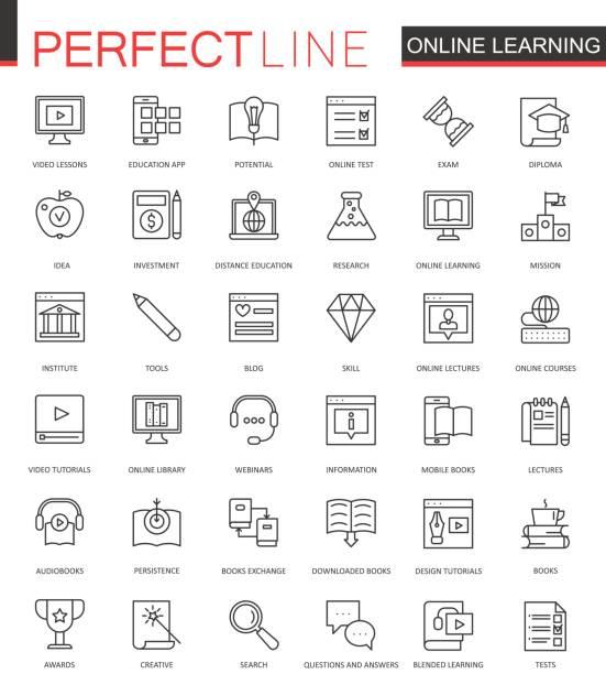 online-bildung dünne linie web icons set. wissen rahmenplanung schlaganfall symbole. - forschungsurlaub stock-grafiken, -clipart, -cartoons und -symbole