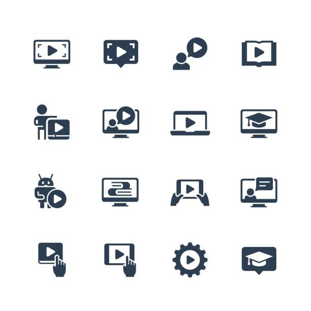 Online education, tutorials and webinars vector icon set Online education, tutorials and webinars vector icon set online meeting stock illustrations
