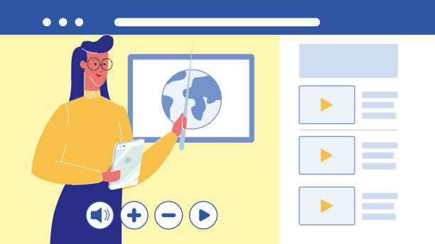 ilustrações de stock, clip art, desenhos animados e ícones de online education, university vector illustration - teacher school solo
