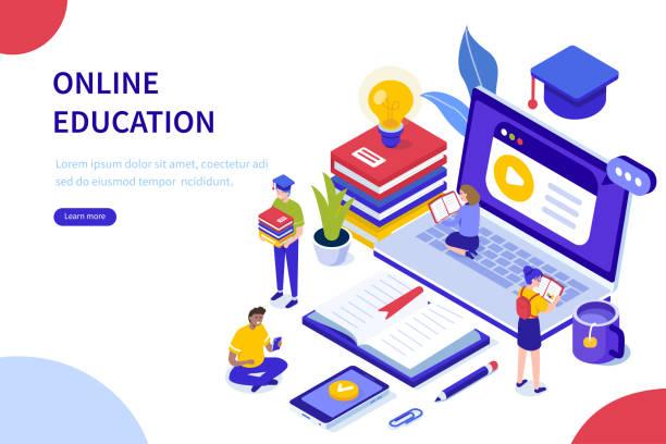illustrazioni stock, clip art, cartoni animati e icone di tendenza di educazione online - didattica a distanza