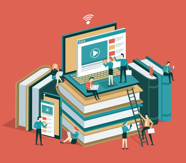 stockillustraties, clipart, cartoons en iconen met online onderwijs - e learning