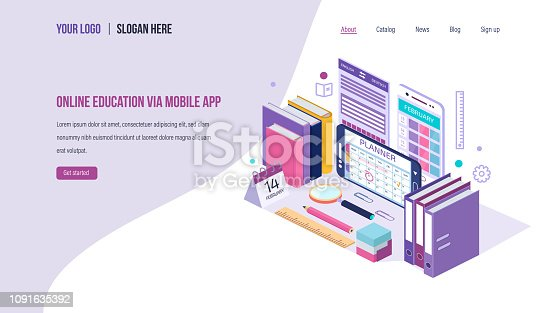 Online education via mobile app. Calendar, electronic schedule education, teaching classes. Distance e-learning courses, training planning, webinar, lectures. Landing page template. Isometric vector.