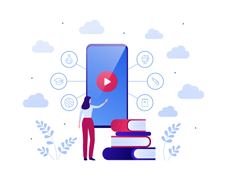 Online education video app for online course concept. Vector flat people illustration. Woman touch screen of smart phone with play button. Book and college theme icons. Design for banner, infographic.