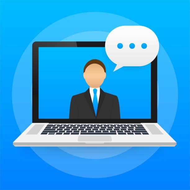 stockillustraties, clipart, cartoons en iconen met online onderwijs, video-oproep, leren tutorial, internet cursussen. vector voorraad illustratie. - e learning