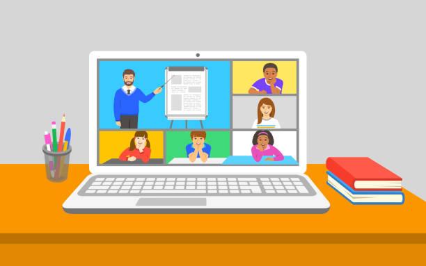 stockillustraties, clipart, cartoons en iconen met online onderwijs virtuele klasse teleconferentie met leraar en kinderen - corona scherm