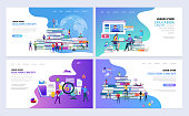 Set of templates web page design. People with books. Education, online education, e-learning modern flat design concept. Web page design for website and mobile website. Vector illustration.