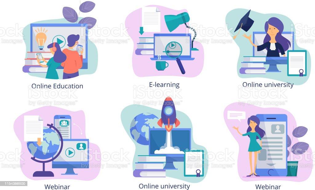 Online education. Web study distance trainings tutorials webinars and...