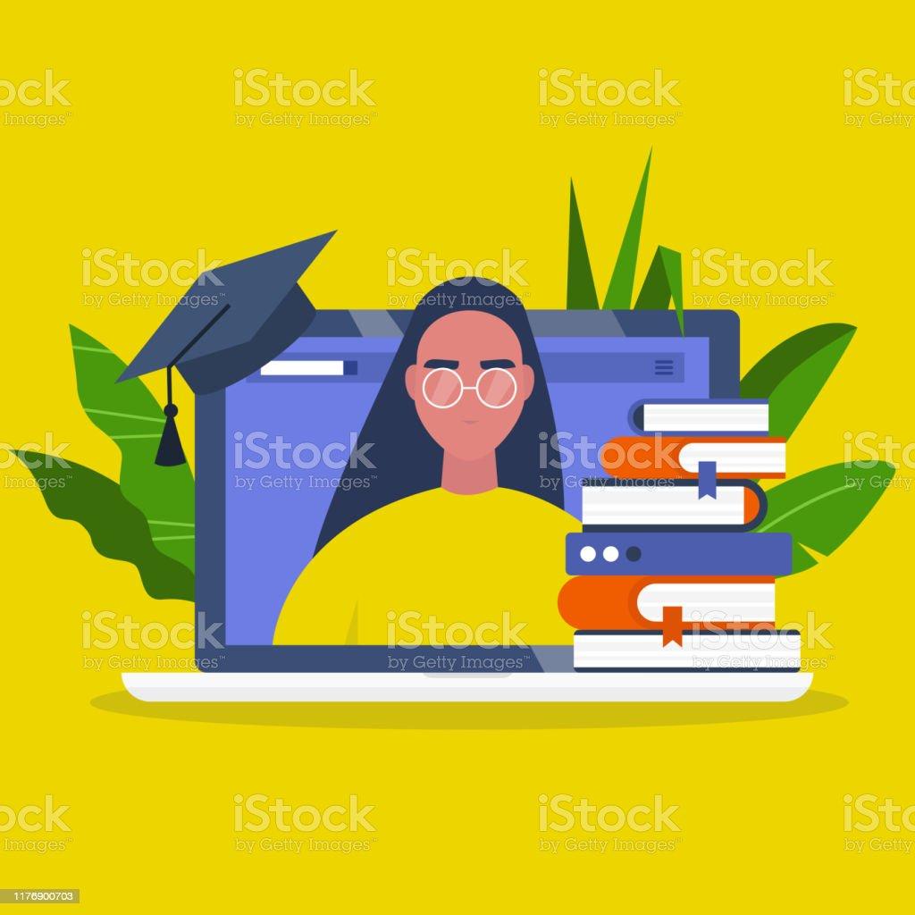 Online onderwijs. Webinar. Laptop scherm, een stapel boeken en een Graduation Cap. Jonge vrouwelijke karakter portret. Platte bewerkbare vector illustratie, clip art - Royalty-free Bibliotheek vectorkunst
