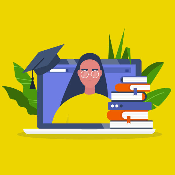 online education. webinar. laptop screen, a stack of books and a graduation cap. young female character portrait. flat editable vector illustration, clip art - online learning stock illustrations