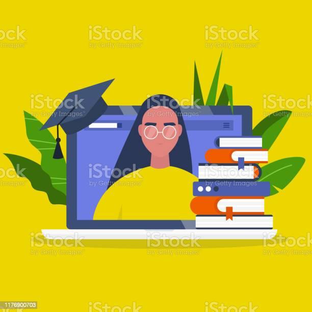 Online Onderwijs Webinar Laptop Scherm Een Stapel Boeken En Een Graduation Cap Jonge Vrouwelijke Karakter Portret Platte Bewerkbare Vector Illustratie Clip Art Stockvectorkunst en meer beelden van Bibliotheek