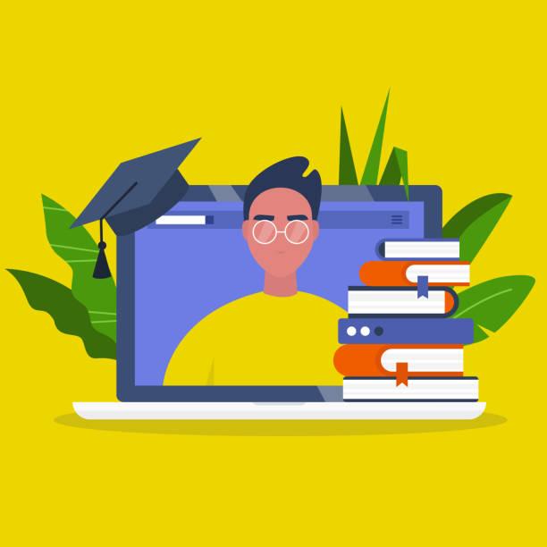 stockillustraties, clipart, cartoons en iconen met online onderwijs. webinar. laptop scherm, een stapel boeken en een graduation cap. jonge mannelijke karakter portret. platte bewerkbare vector illustratie, clip art - flat cap