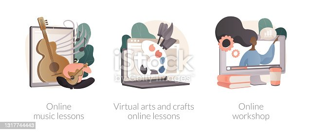 istock Online education while self-isolation abstract concept vector illustrations. 1317744443