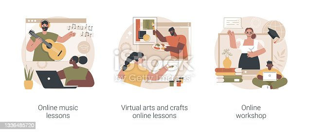 istock Online education while self-isolation abstract concept vector illustrations. 1336485720