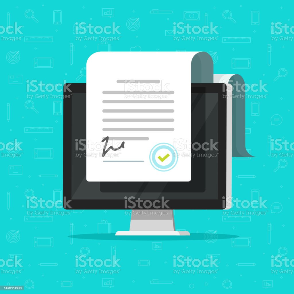 Online electronic documents on computer display vector illustration, flat paper document and signature on desktop pc screen, concept of digital or internet office, on-line deal, web paperwork - arte vettoriale royalty-free di Accordo d'intesa