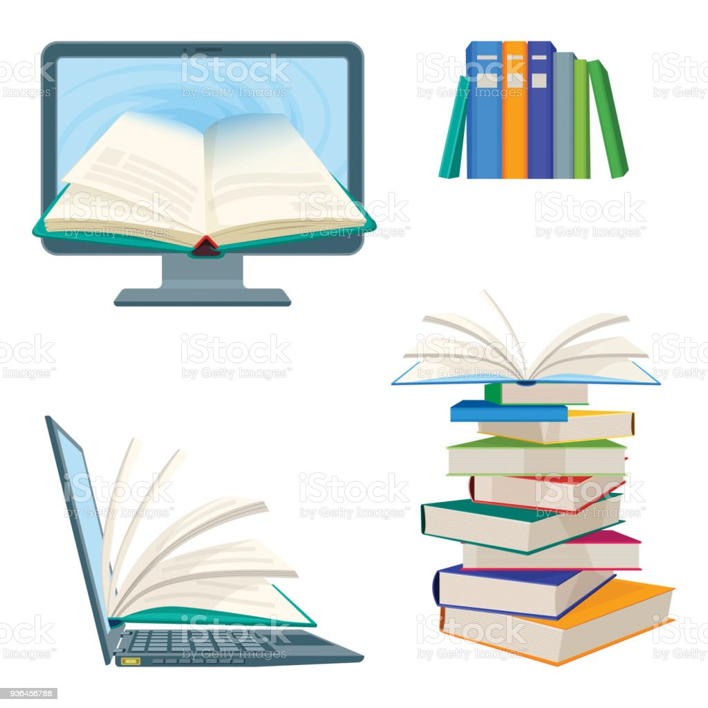 Online Encyclopedia Poster With Computer And Notebook