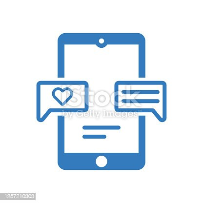 istock Online engagement icon / blue color 1257210303