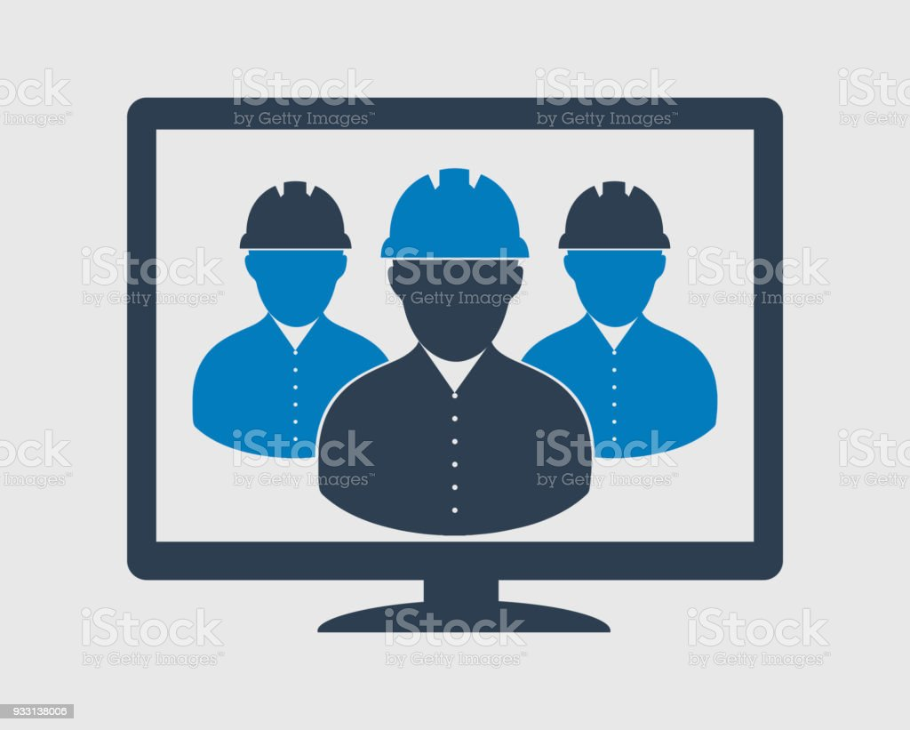 Online Engineer Team Icon Male Symbols On Computer Monitor Stock