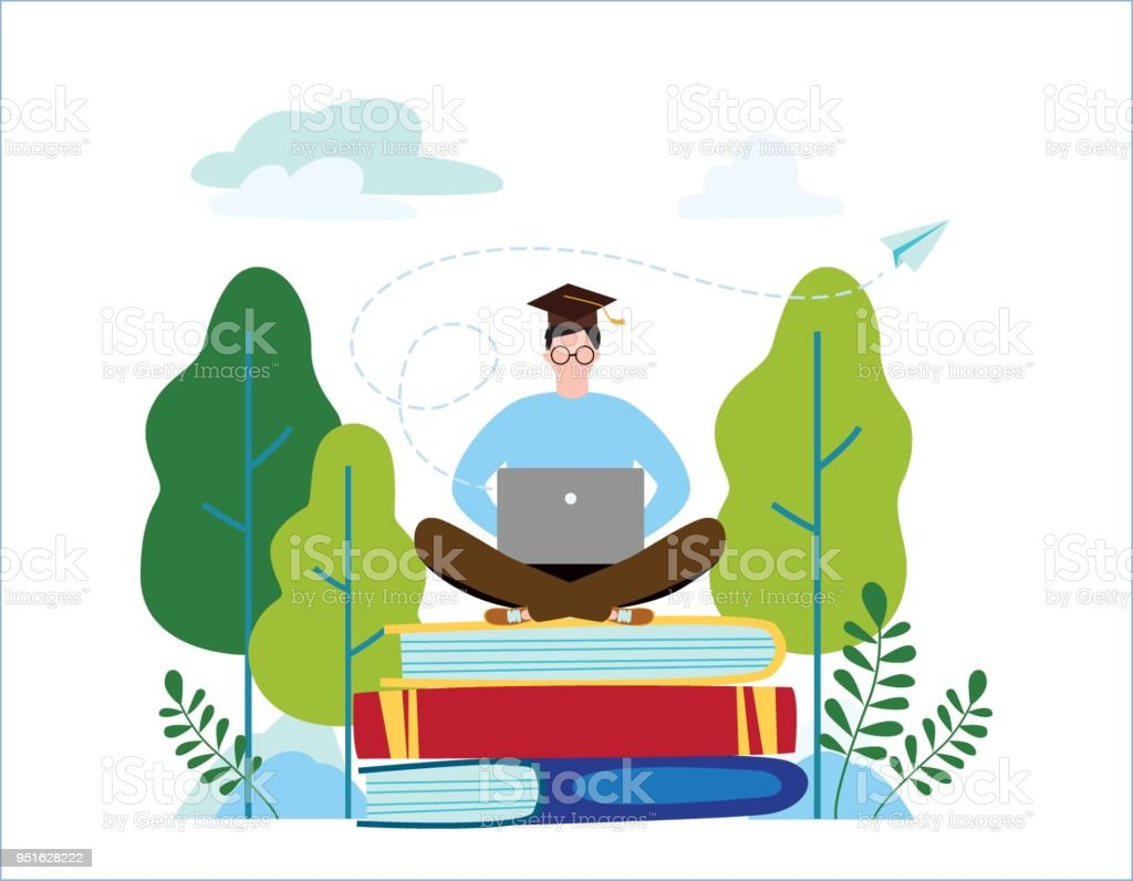 Character Design Courses University : Online english school vector illustration language courses concept