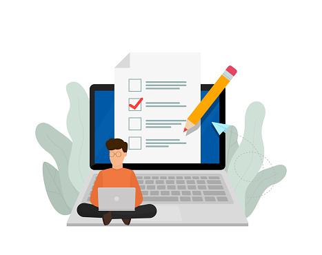 Online exam. Online training courses, online book, distance education.
