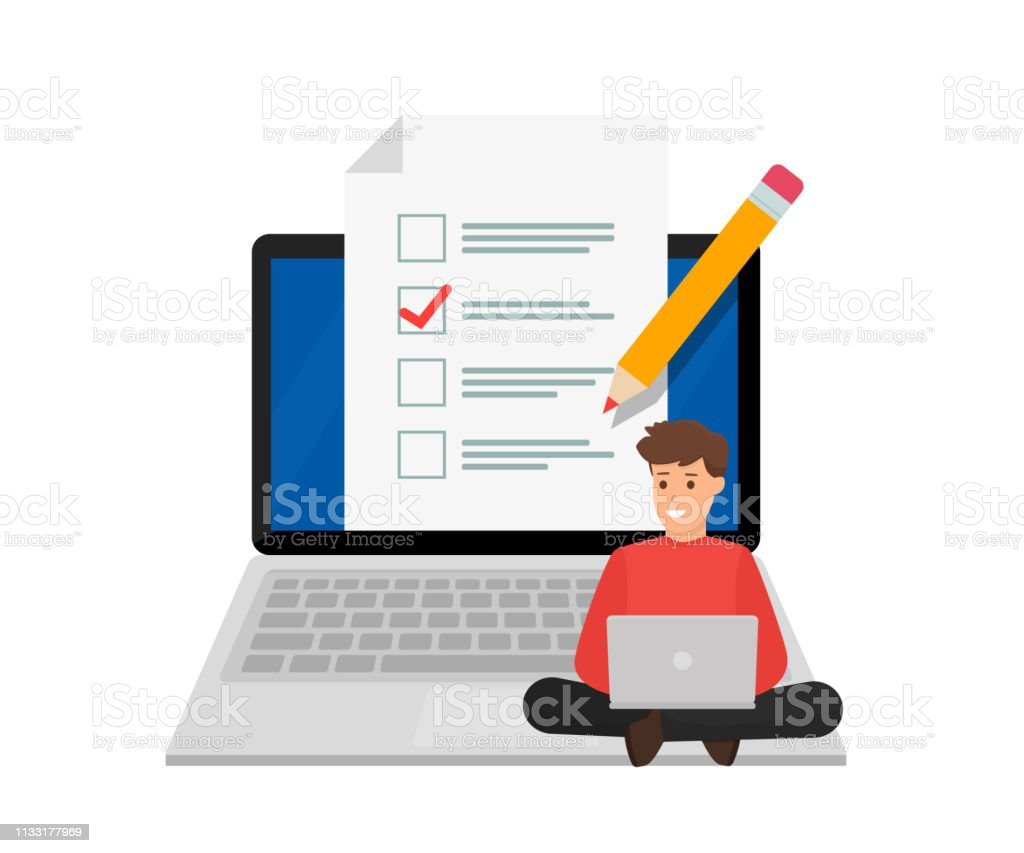 Online exam. Student sitting on big laptop with checklist and pencil....