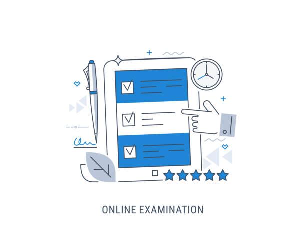 illustrazioni stock, clip art, cartoni animati e icone di tendenza di online examination - esame università