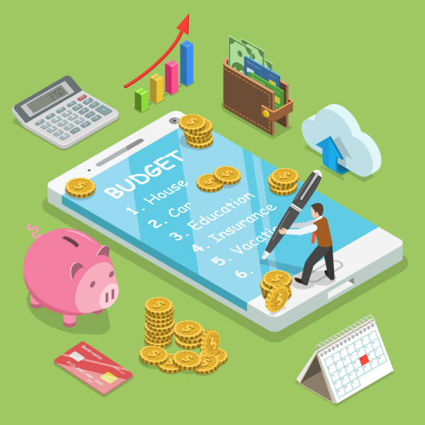Online family budget flat isometric vector concept Online family budget flat isometric vector concept. Man is planning the family budget and write down it into the smartphone. budget stock illustrations