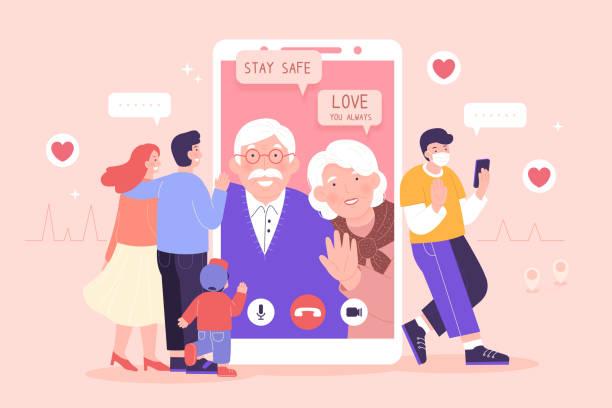 illustrazioni stock, clip art, cartoni animati e icone di tendenza di online family reunion - grandparents