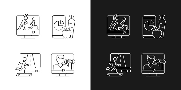 Online fitness coach linear icons set for dark and light mode
