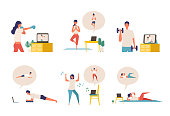 Online fitness concept. Work out via monitor, laptop, tablet. Vector illustration of a people relaxing in their home. Collection of people working out at home.