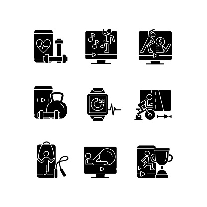 Online fitness training apps black glyph icons set on white space