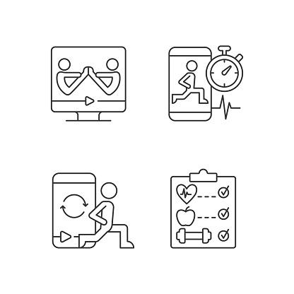 Online fitness wellness programs linear icons set