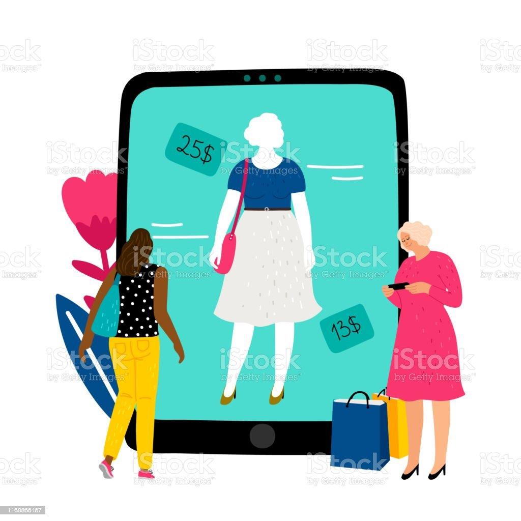 onlineumkleideraum mädchen wählt kleid im onlineshop vektorillustration  stock vektor art und mehr bilder von ausverkauf