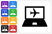 Online Flights Icon Square Button Set. The icon is in black on a white square with rounded corners. The are eight alternative button options on the left in purple, blue, navy, green, orange, yellow, black and red colors. The icon is in white against these vibrant backgrounds. The illustration is flat and will work well both online and in print.