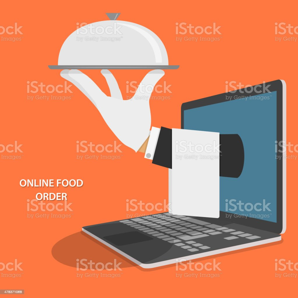 Online Food Delivery Isometric Flat Vector Concept. Hand Of Water...