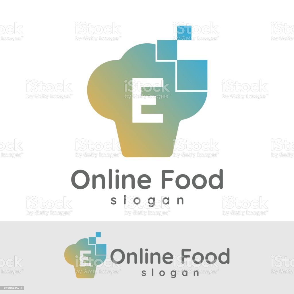 online food initial letter e icon design stock vector art more