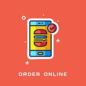 Online Food Order Flat Line Icon, Outline Vector Symbol Illustration.