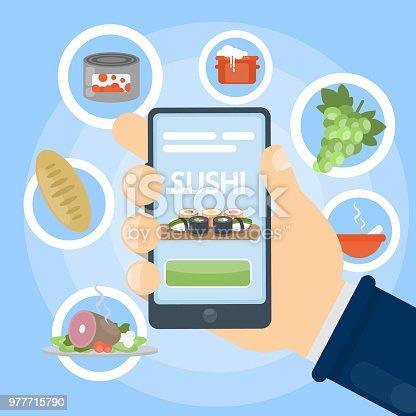 Online food order using internet. Buying groceries.
