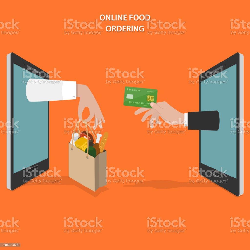Online Essen bestellen flache Vektor-Konzept. – Vektorgrafik