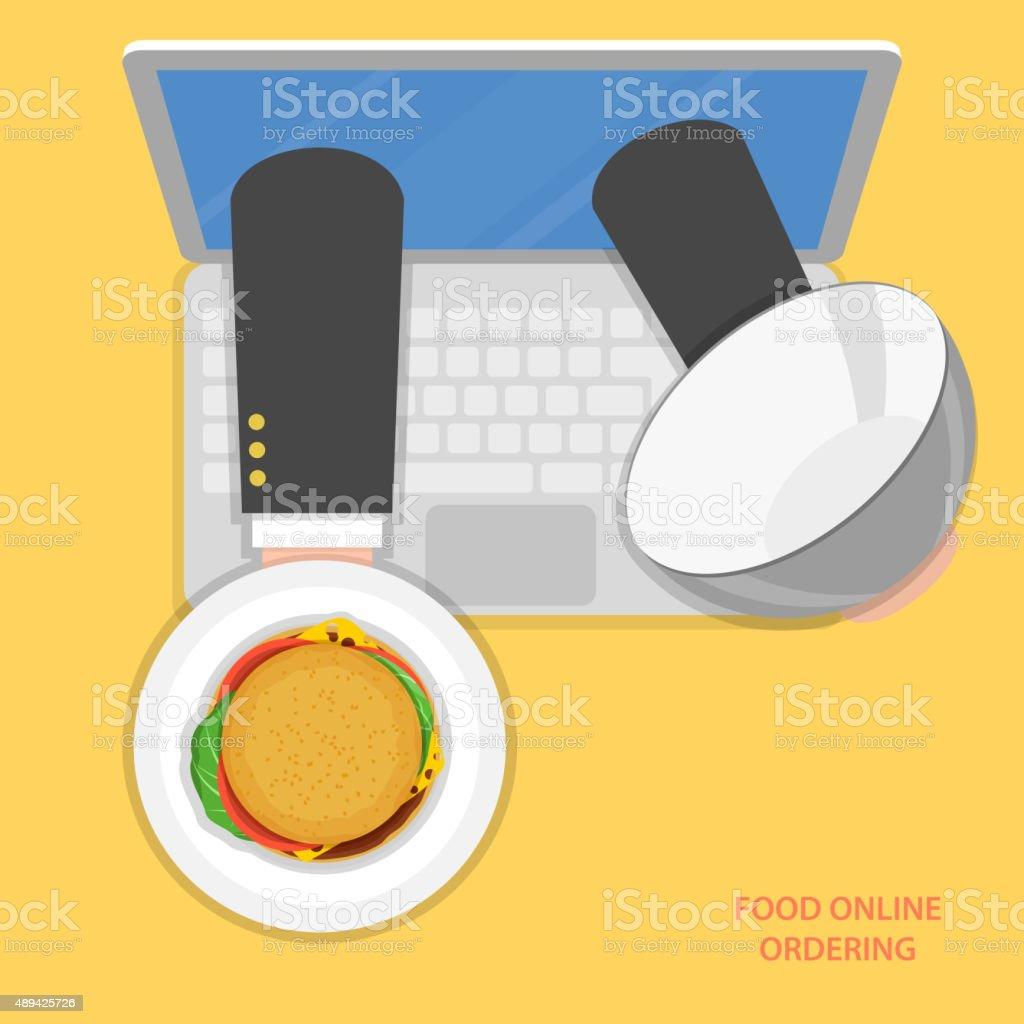 Online Essen bestellen flache Vektor-Konzept. Lizenzfreies online essen bestellen flache vektorkonzept stock vektor art und mehr bilder von 2015