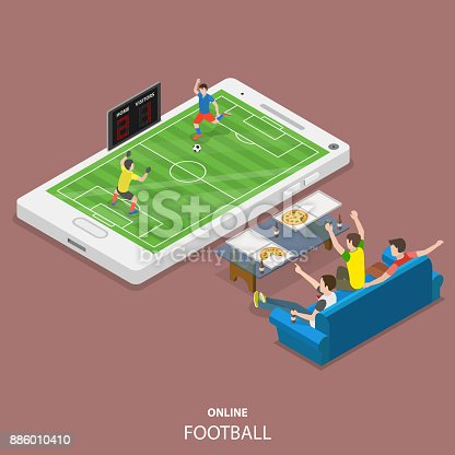 istock Online football flat isometric vector concept 886010410
