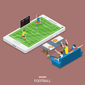 Online football flat isometric vector concept